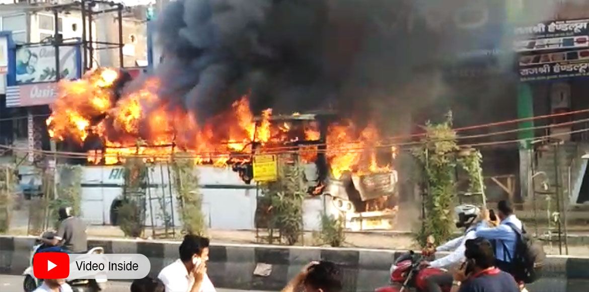 Noida: Bus catches fire at Bhangel; passengers saf