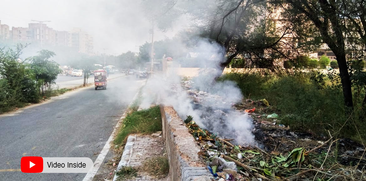 Scenes of smoke emanating from garbage common in Dwarka