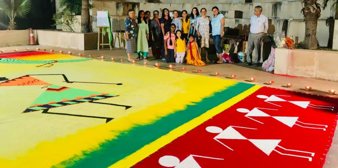 ATS Village's giant colourful tribute to Warli art on Diwali