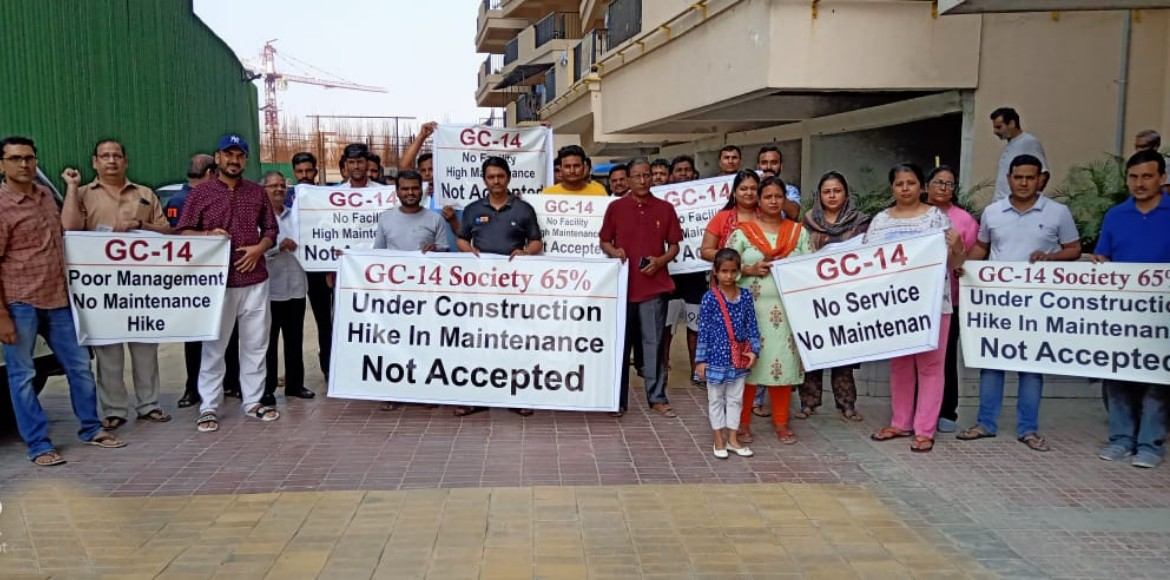 Gaur City: Agitated residents protest against maintenance charge hike yet again