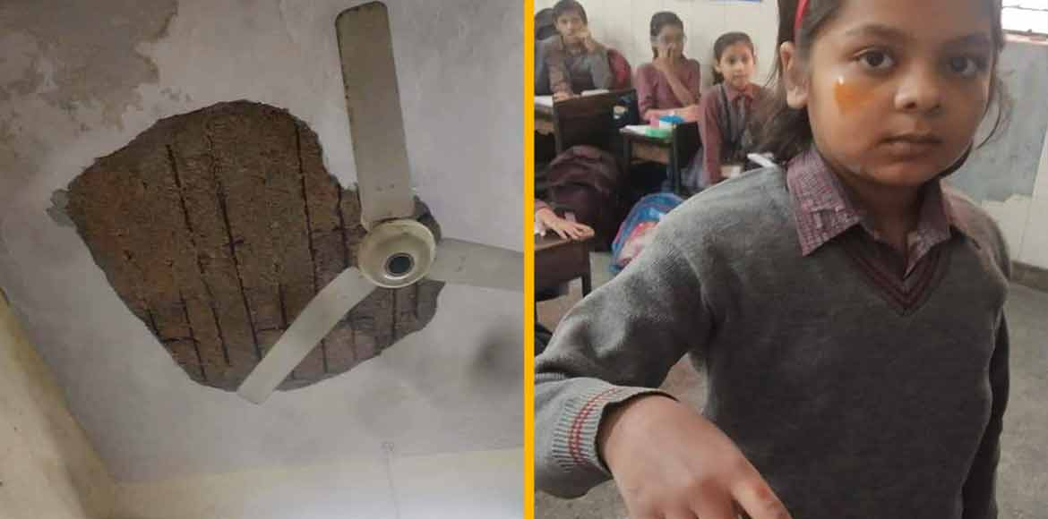 Ceiling plaster falls on girl students at MCD school in Jafrabad