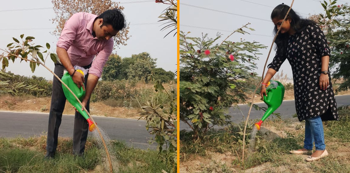 Two months after plantation, Noida group volunteers maintenance of plants