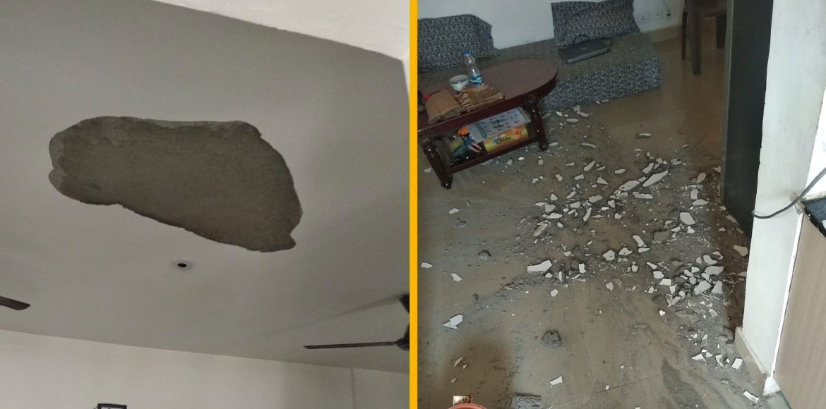Residents terrified after ceiling plaster falls at