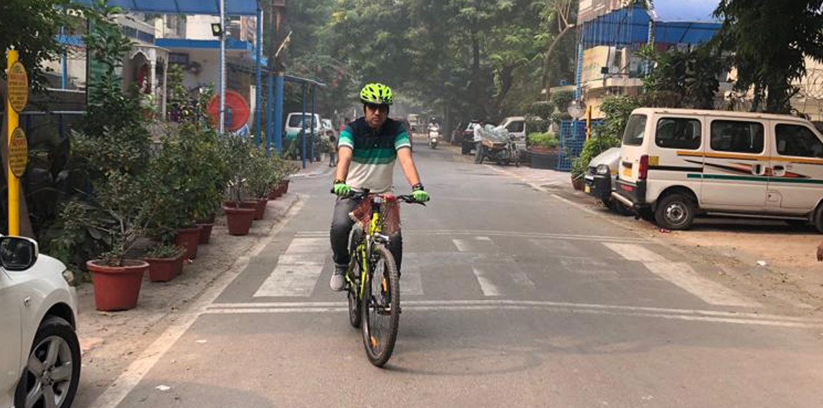 Noida man hits bicycle calling it his bit to combat pollution