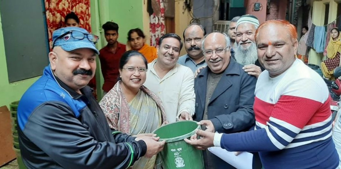 Green dustbins distributed for bio-waste segregati