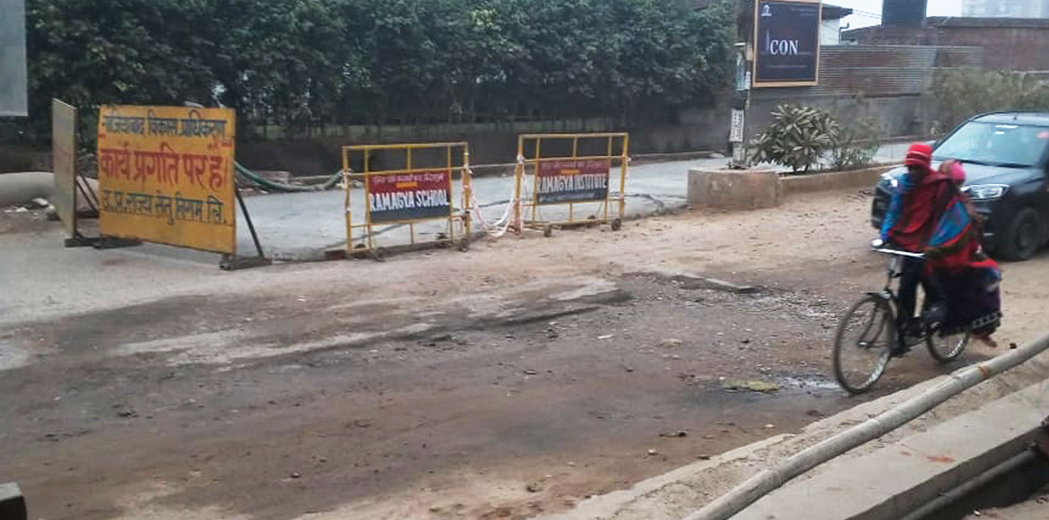 Indirapuram: After long wait, construction of road starts in front of DPS