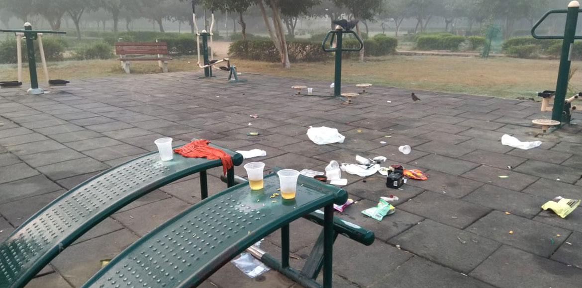 Open drinking prevalent at park's gyms across Dwarka
