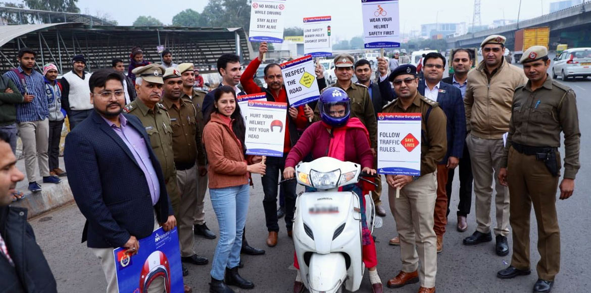 Gurugram Traffic Police starts helmet campaign to