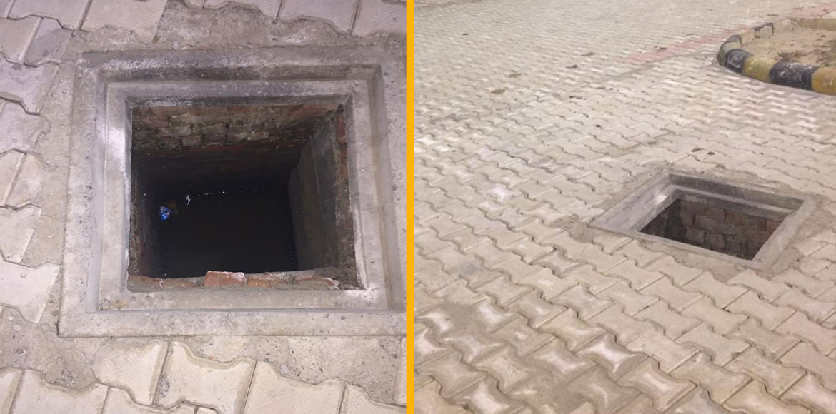 Open manhole at Sec 137 metro station worries passersby
