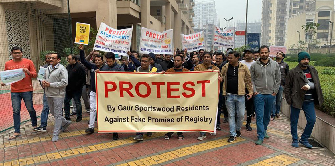 Gaur Sportswood: Residents protest against delay in flat's registration