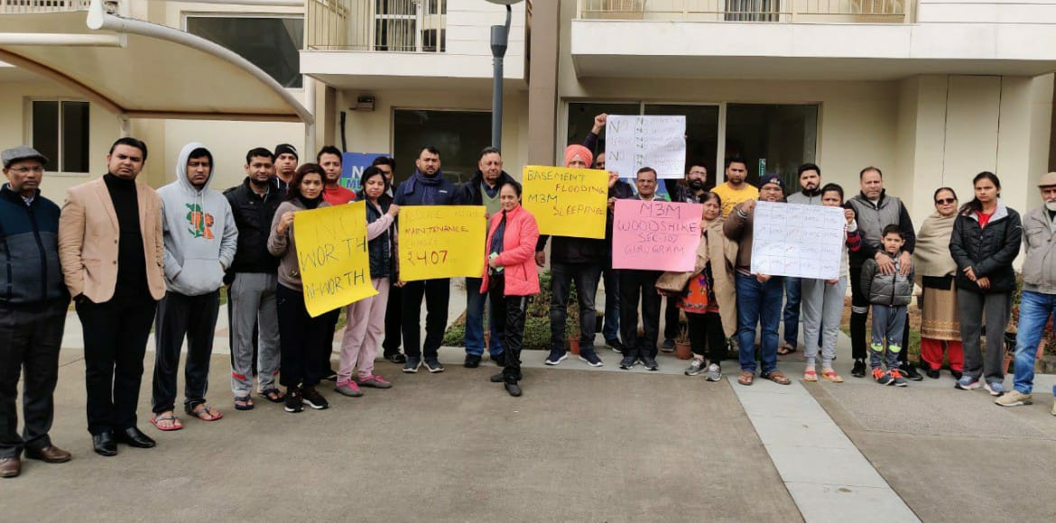 M3M Woodshire residents rally for basic amenities