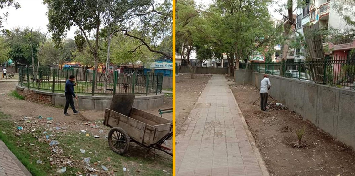 EDMC carries out cleanliness drive in Budh Park following complaint by residents