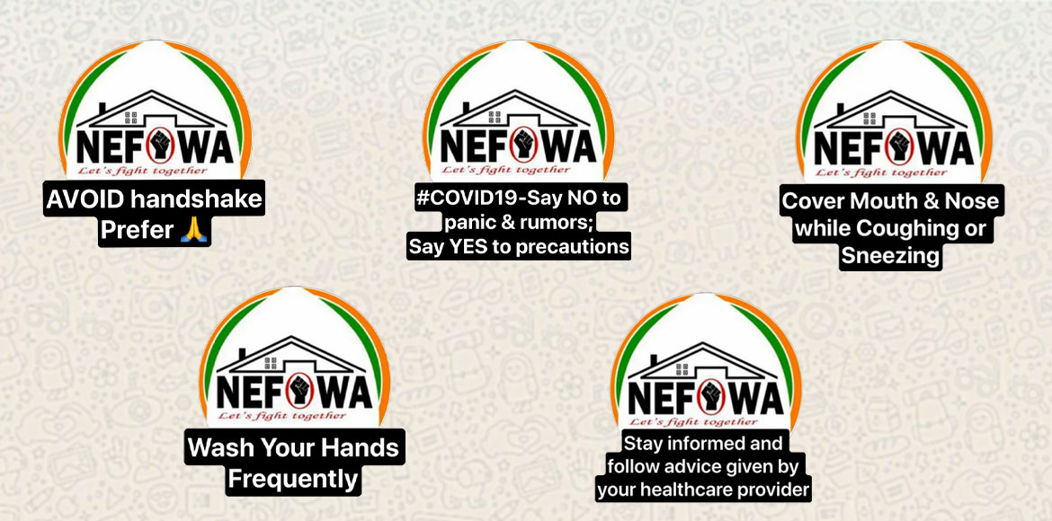 NEFOWA circulates WhatsApp stickers to spread awareness on corona