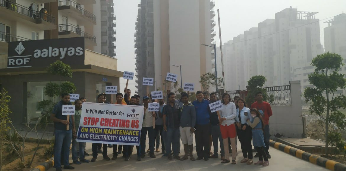 ROF Aalayas residents rally against builder over maintenance fee