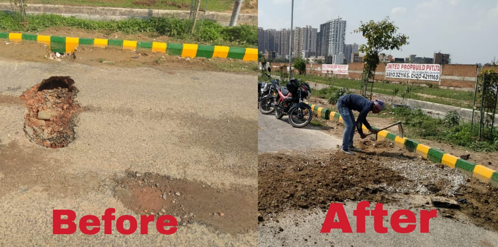 Noida Authority repairs road in less than 5 hours flat