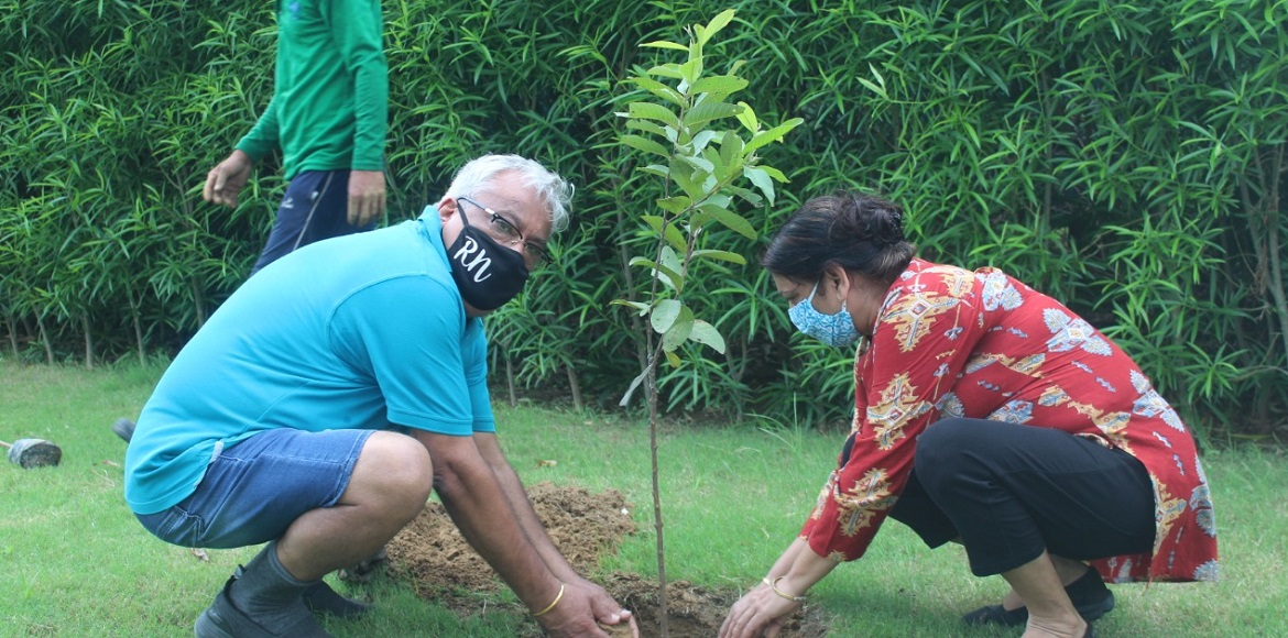 Senior citizens, children converge to plant saplin