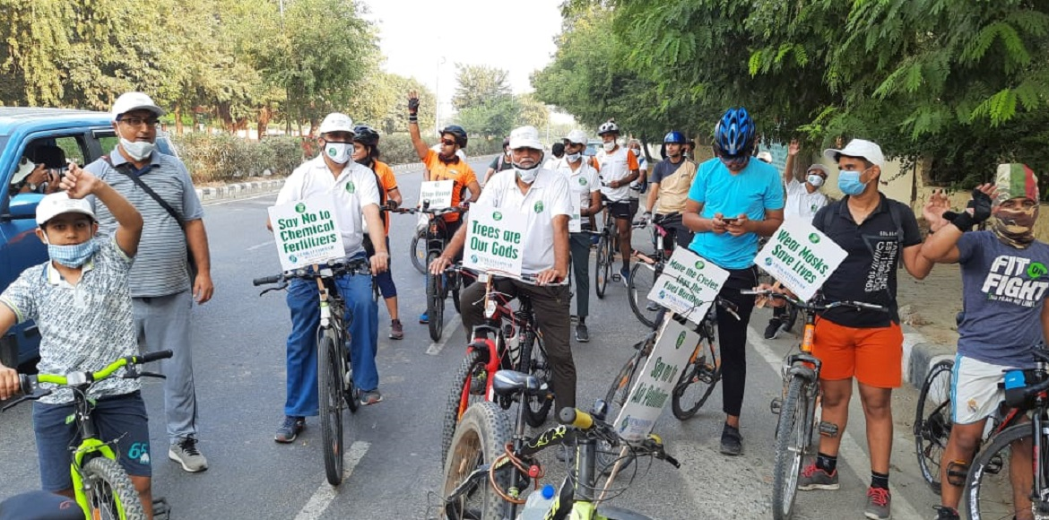 About 70 persons participate in 9-km long cycling