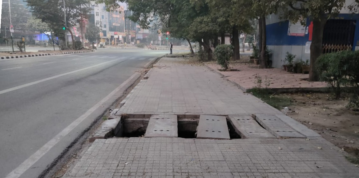 Missing drain covers a death trap for pedestrians in Dwarka