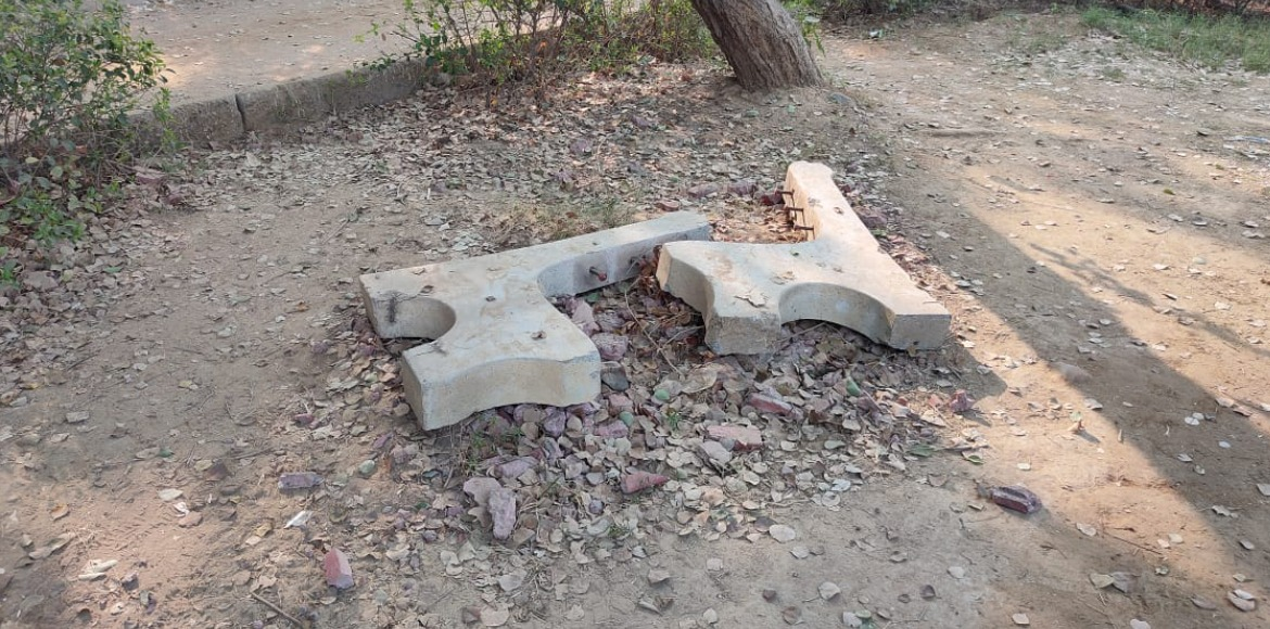Dwarka: Parks' cement and iron benches on target of anti-social elements