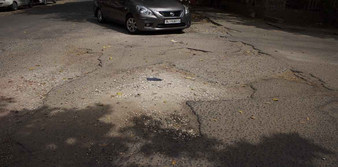 Dwarka: Pothole-ridden road continues to be nightm