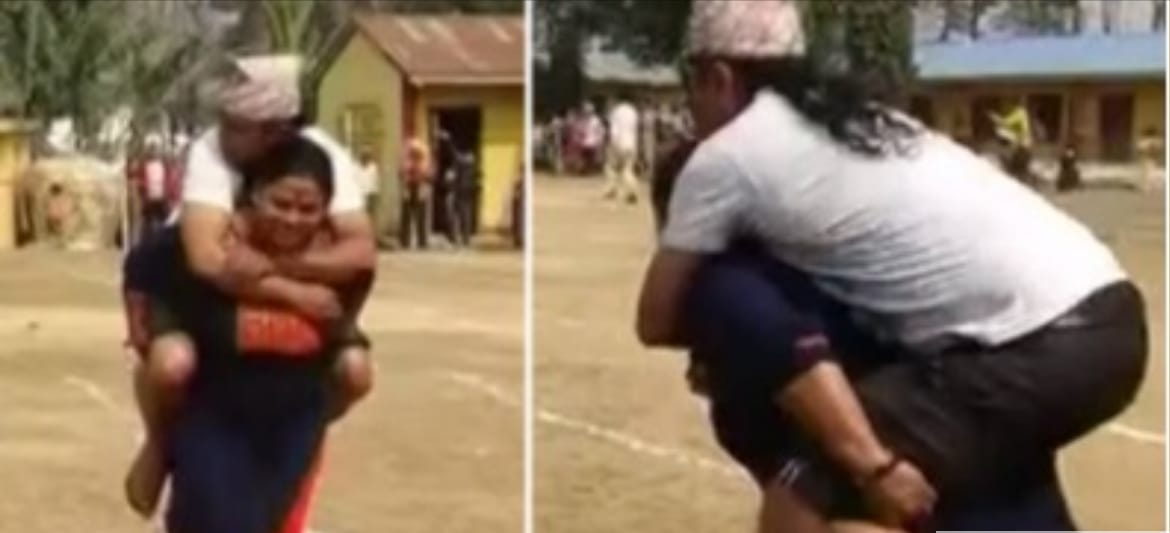 Women piggyback husbands to finish line in Nepal