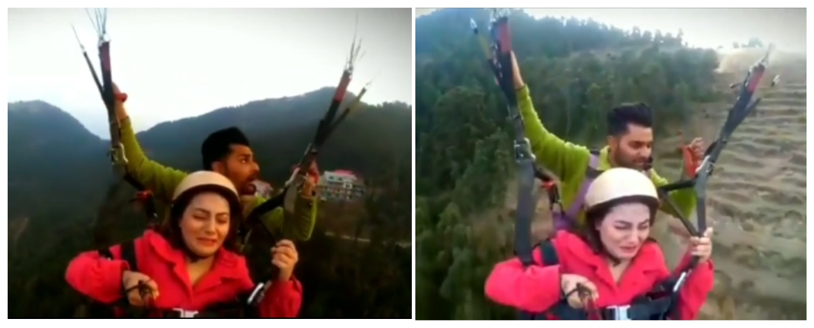 'Go slow': Woman freaks out while paragliding for
