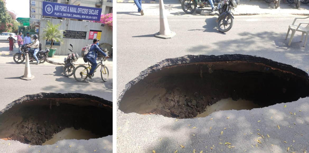 RESIDENT SPEAK: Portion of road caves in at Dwarka