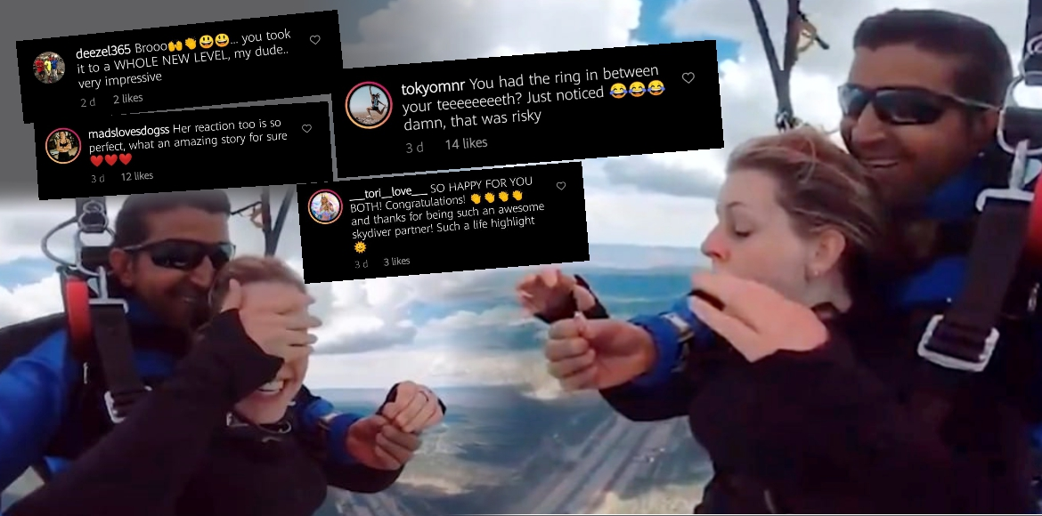 Man proposes to his girlfriend while skydiving | W