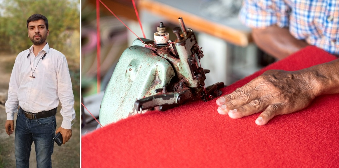 This man upcycles old clothes into carpets and bag