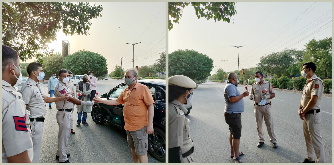 No challan but roses for lockdown violations