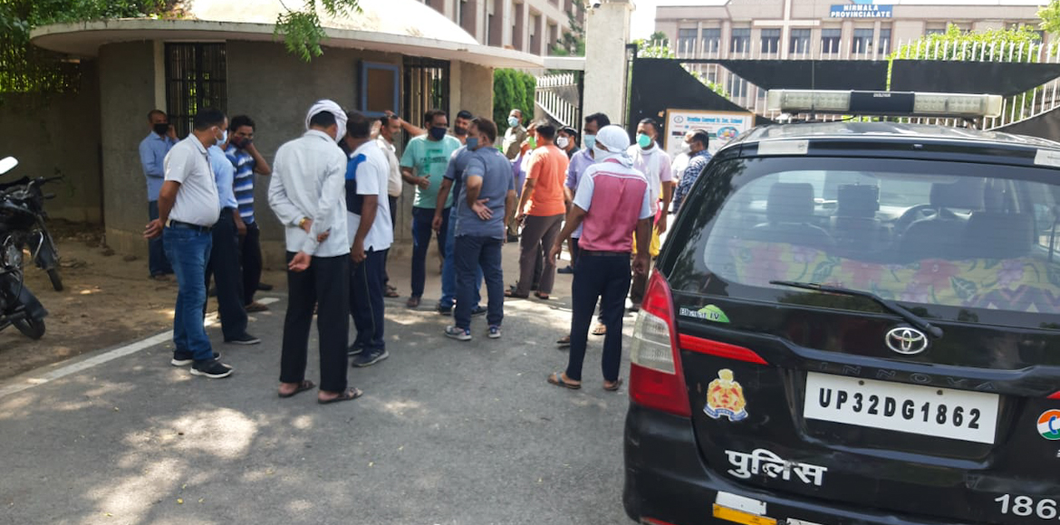 Parents protest against fee hike at a school in Gr