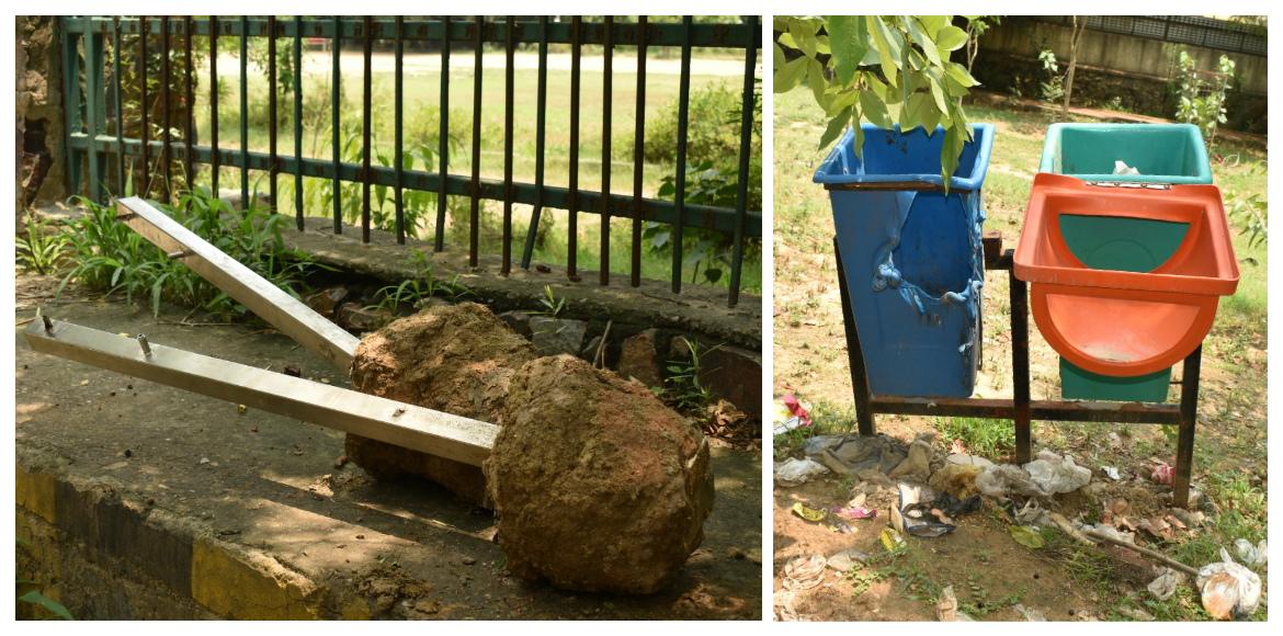 Public benches found in broken state at Shyam Vatika Park