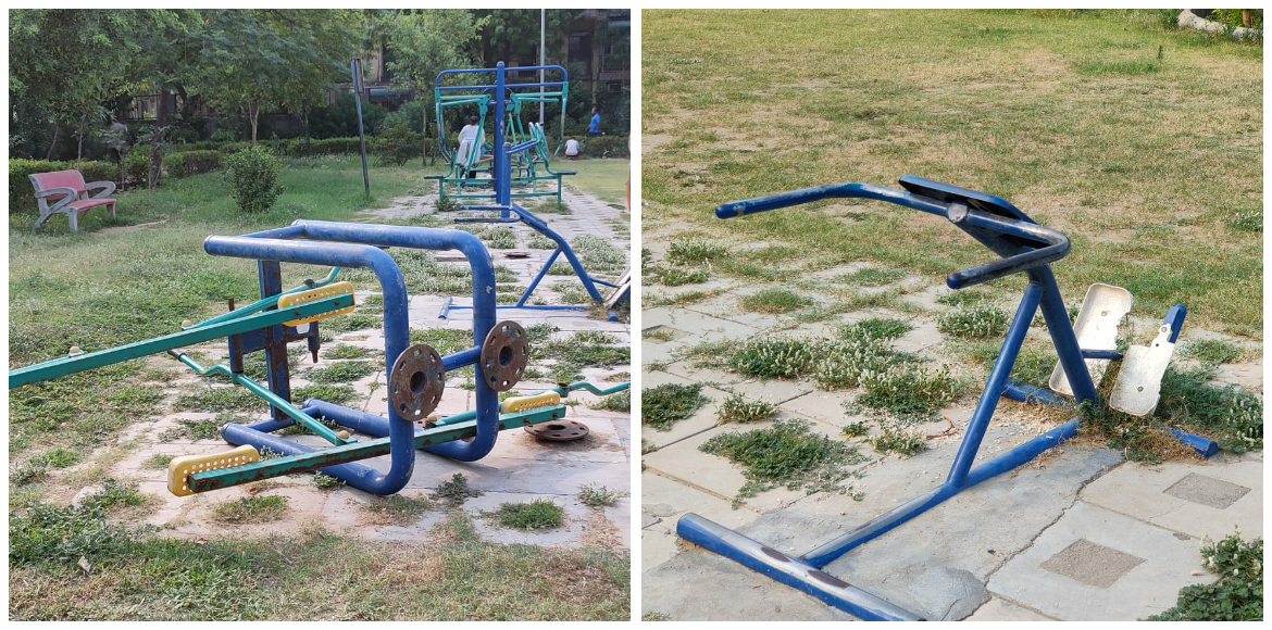A public gym in Dwarka is withering away