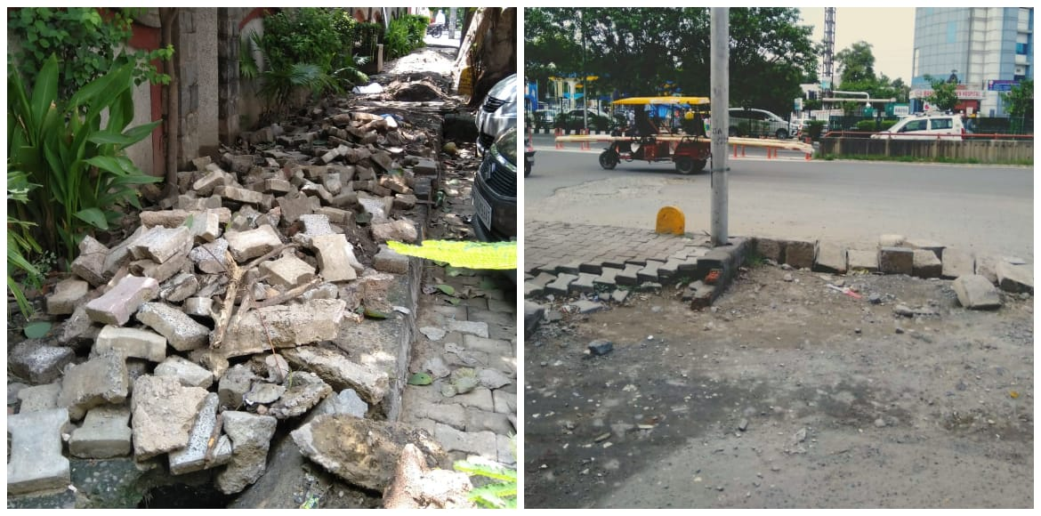 Dwarka: Missing tiles, caves on footpath dissuade