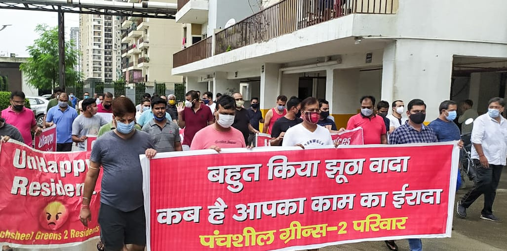 Panchsheel Greens 2: Residents stage protest to raise issues