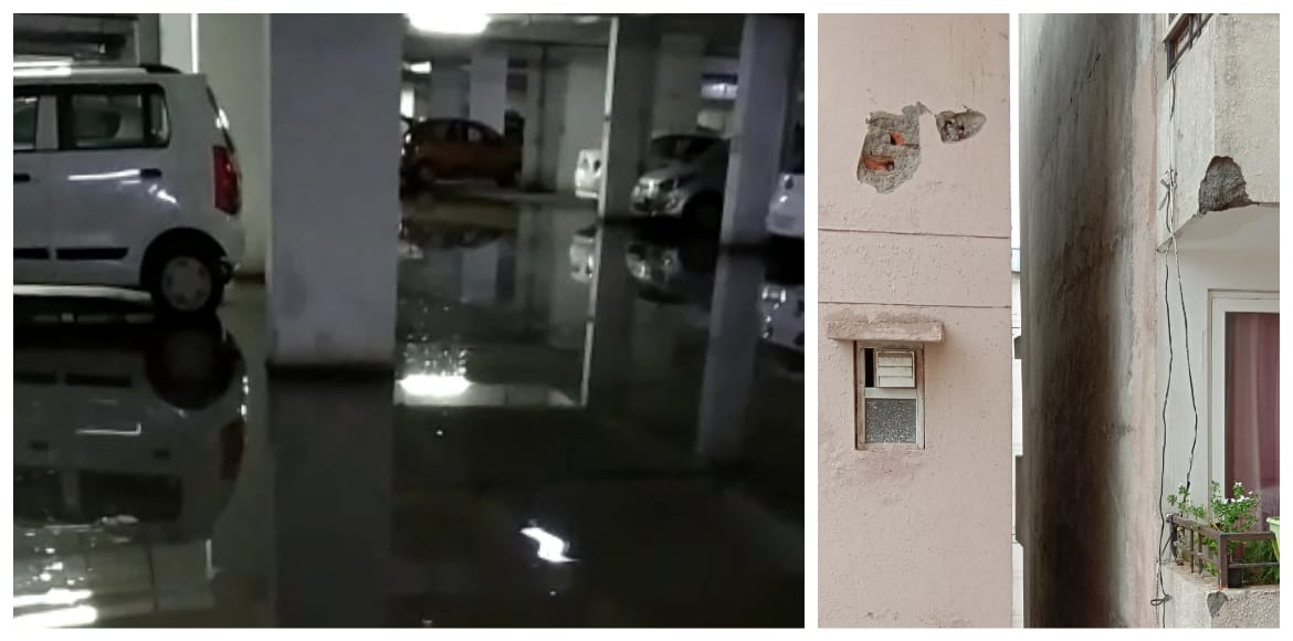 Complete chaos after heavy rain in Aishwaryam Apartments