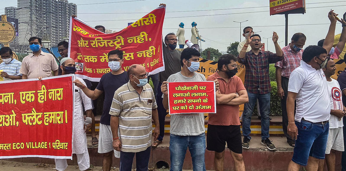 Residents of Ecovillage-1 protest to demand registry of flats