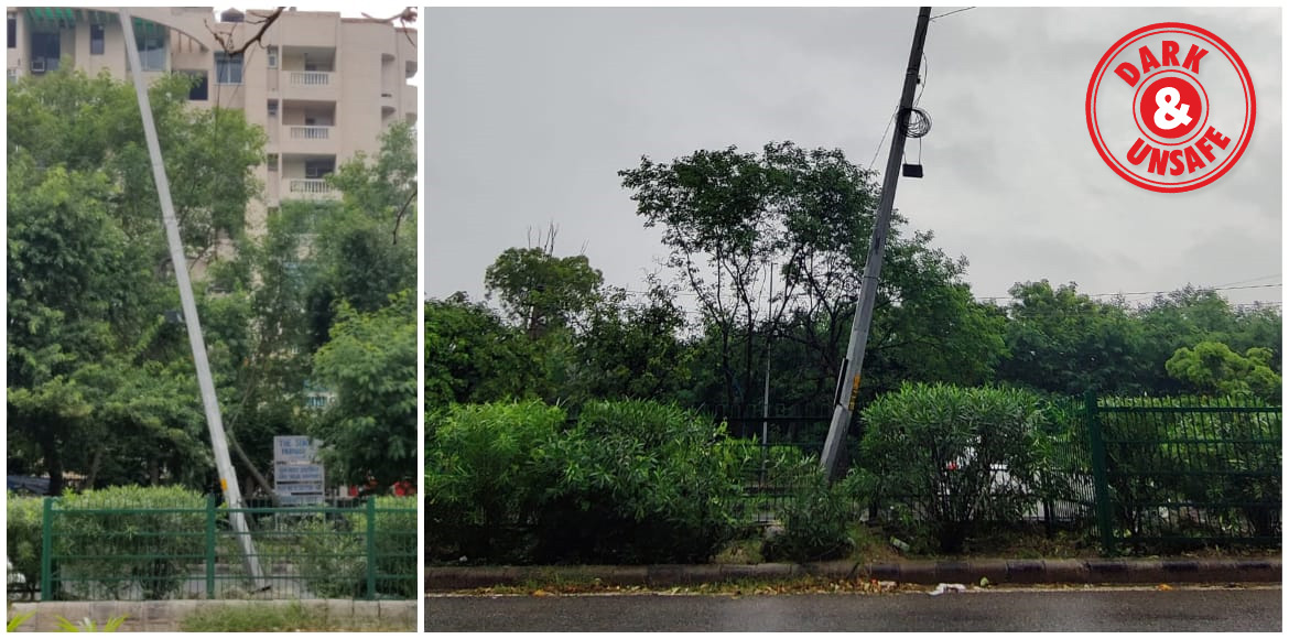 Tilted pole leaves commuters jittery