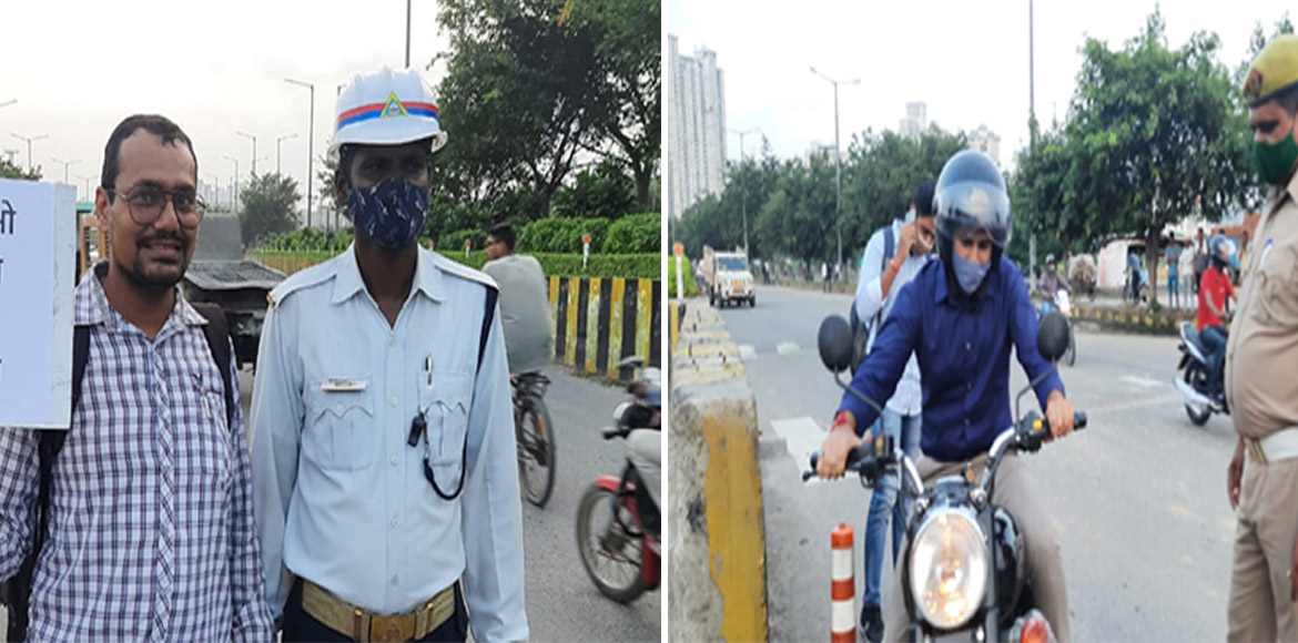 Noida- 7x Welfare Team preaches road safety with c