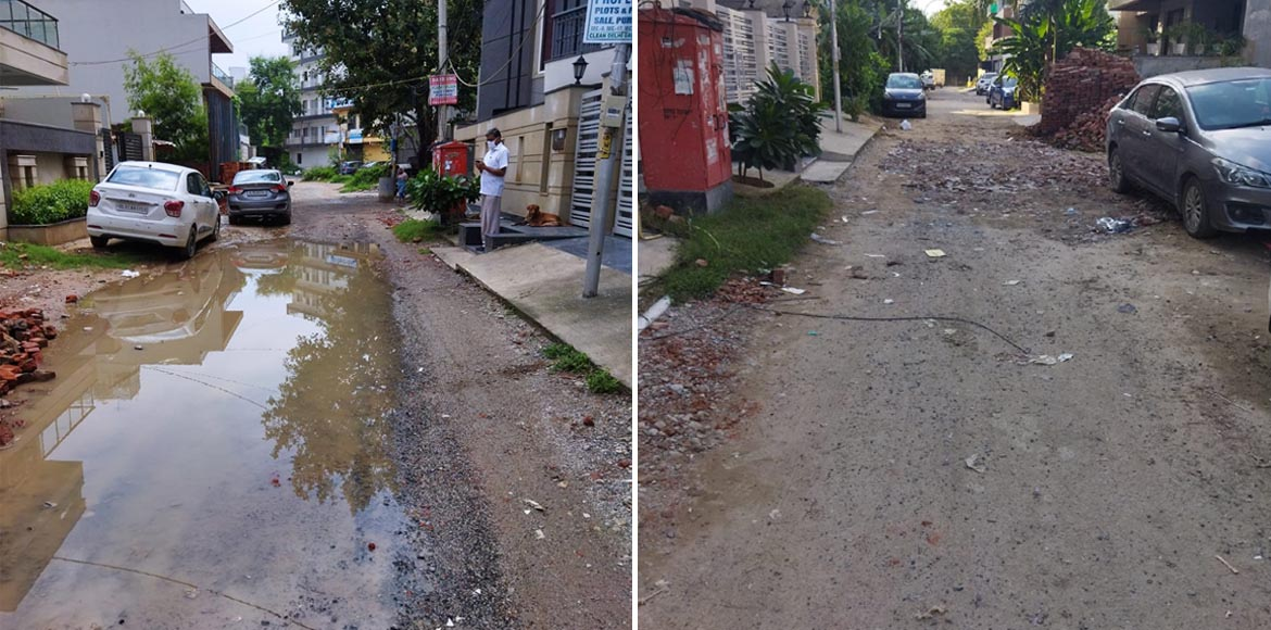 Dwarka: Days passed after rain but road remains in bad shape in Sector 8
