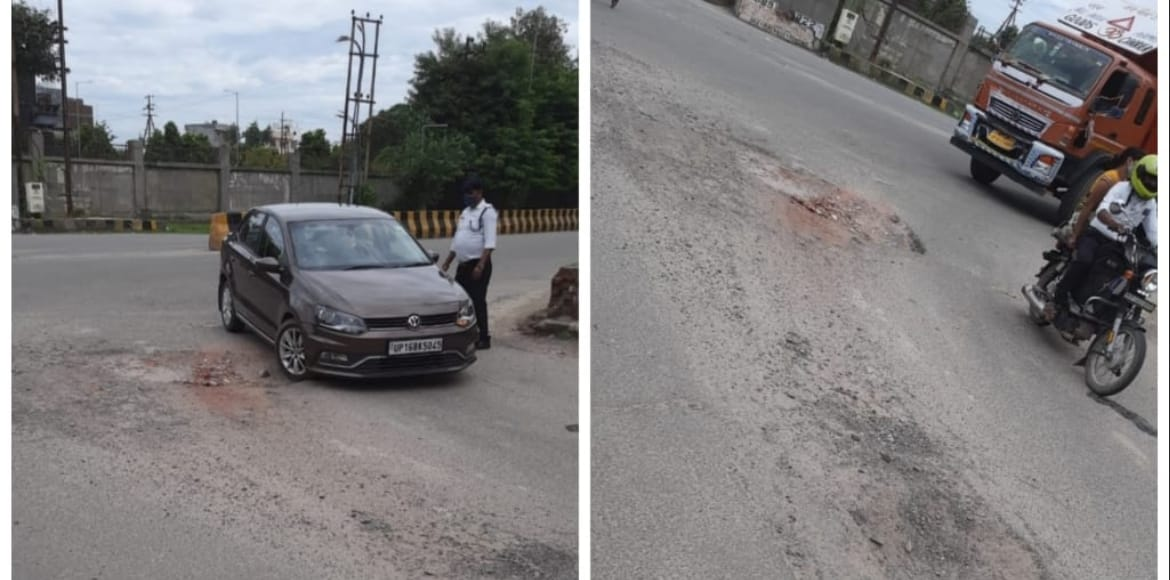 Noida: Residents raise the issue of potholes at Tr