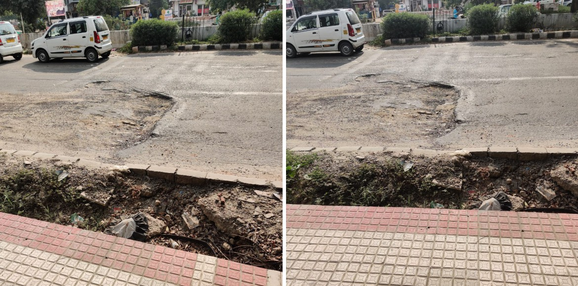 Dwarka: Commuters wary of big pothole in Sector 3