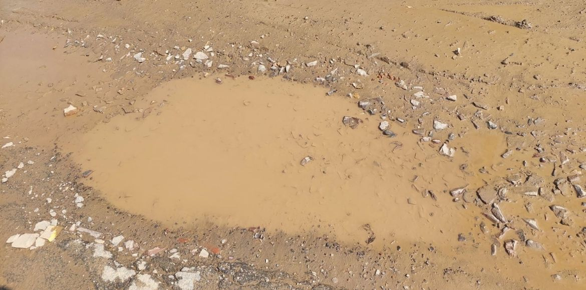 Noida: Society residents complain bad road in Sect