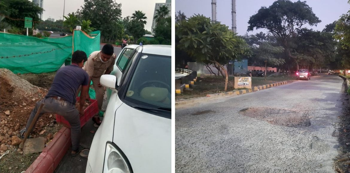 7x Welfare Team and the Noida Traffic police join hands to fill potholes