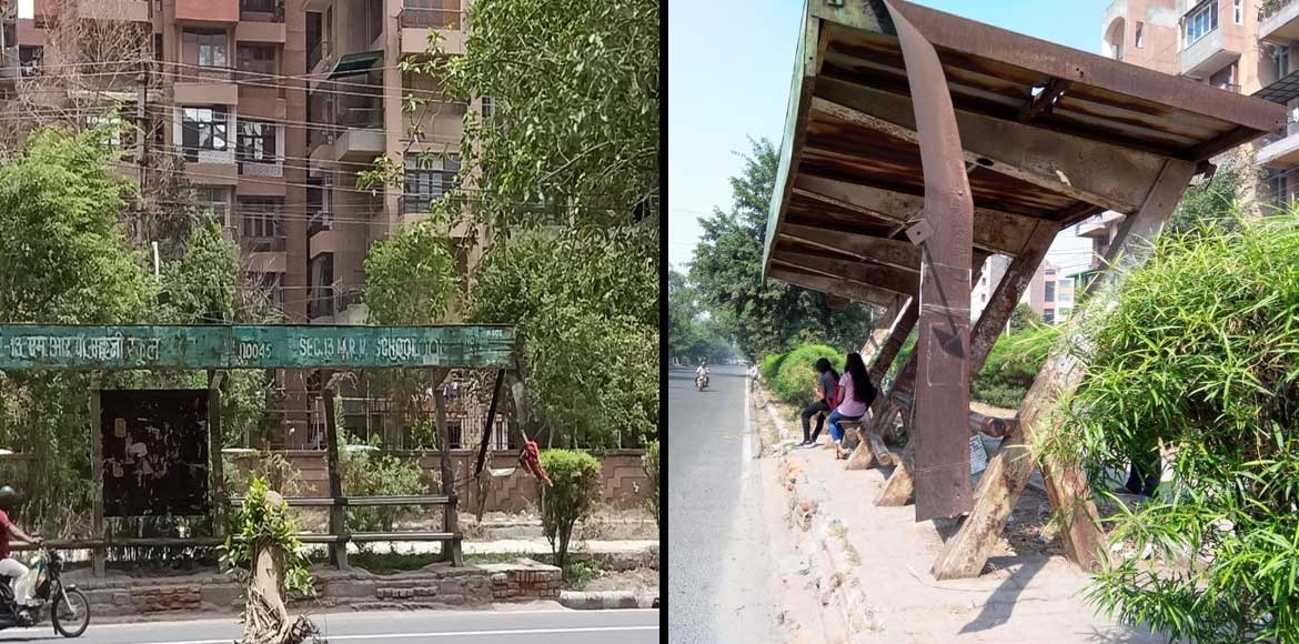 Dwarka: Bus shelter�s hanging iron sheet poses imminent danger